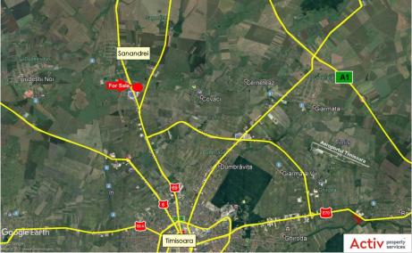 Proprietate de vanzare - Banat Business Park Sanandrei - localizare harta