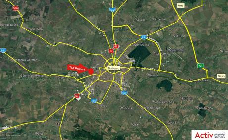 Spatii industriale de inchiriat Timisoara Sud, localizare harta