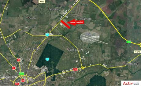 Global Logistics Timisoara 2 inchiriere spatiu depozitare si productie Timisoara nord-est localizare harta